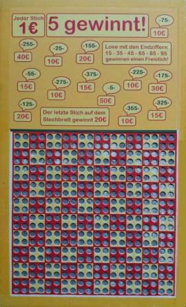 Stechbrett - Knobelbrett - Kneipenspiel - 5 gewinnt! - 400 Stiche - Bild vergrößern
