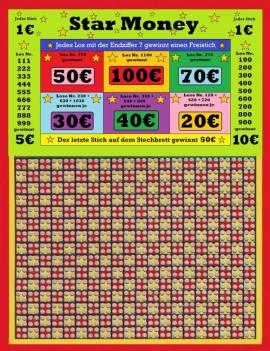 Stechbrett - Knobelbrett - Star Money - 1200 Stiche - 1€ - Bild vergrößern